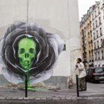 """【芸術】Ludo氏の新作壁画、""""Flower Skull"""" フランス パリ"""