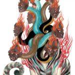 開明獣:虎のような体に人の顔が九つついており見た目も怖い神獣