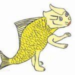 陵魚:手足が四本あって海に住んでいる人面の魚