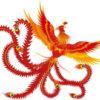 朱雀:朱雀とは平たく言うと赤い鳳凰を南に置いた存在
