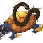 玄武:亀と蛇が合体した四象で、水と人の生死を司る神秘的な霊獣