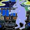 玉兔搗薬:中国神話では月にいる兎はもともとは薬を搗いていたというお話。